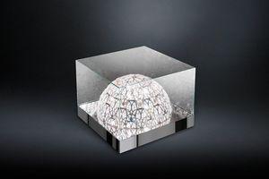 Roma, Tavolino in vetro, con lampada a semisfera