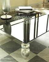t113 decor, Tavolino con gambe in legno massello, piano in vetro