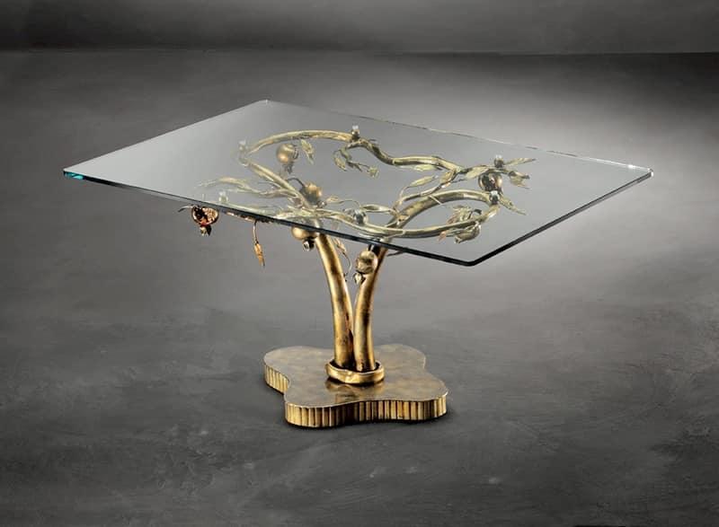TA/200, Tavolino moderno con base in metallo e piano in vetro