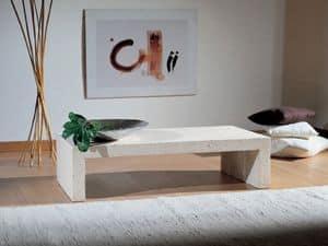Taj, Tavolino realizzato completamente in pietra, finitura a cera