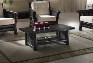Tavolino Osaka black, Tavolino etnico con ripiano portariviste