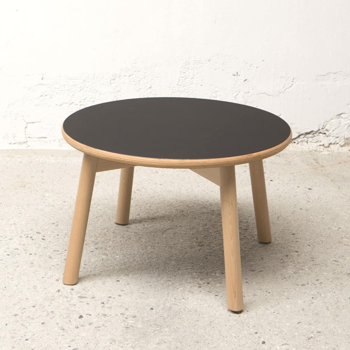 Tavolino Tondo Bolz, Tavolino per centro sala, piano in laminato, stile semplice