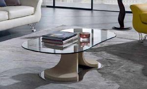 TL66 Mistral tavolino, Tavolino con forma affusolata, piano in vetro