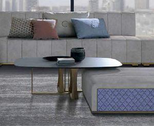 TL68 Cube tavolino, Tavolino con piano in vetro nella forma a botte