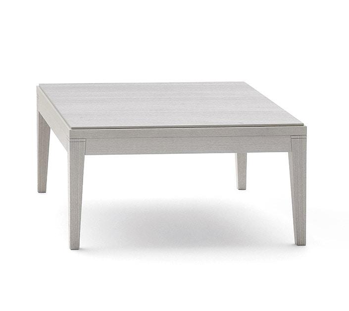 Toffee 808, Tavolino quadrato in faggio massiccio, piano in faggio impiallacciato, per sale d'attesa