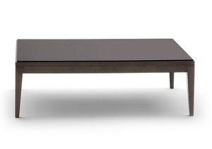 Toffee 813, Tavolino rettangolare con struttura in faggio massiccio, piano in vetro laccato temperato, per ambienti in stile moderno