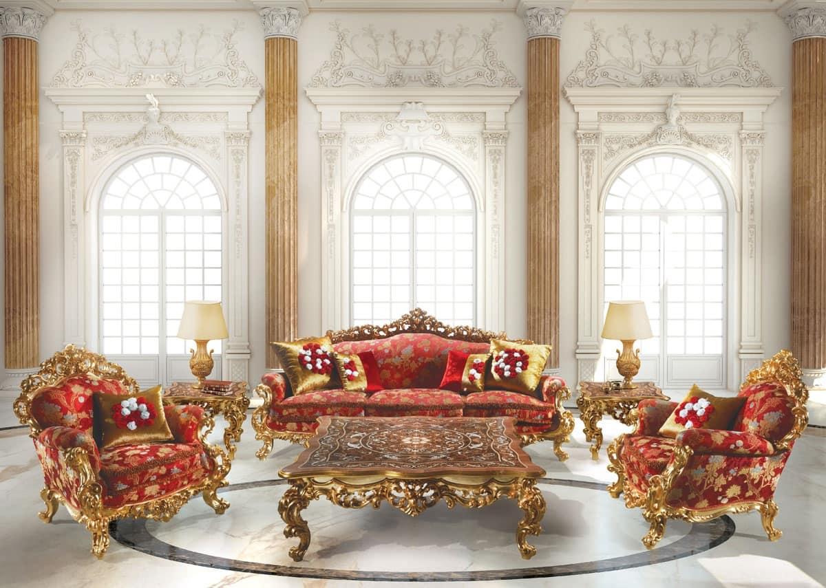 248 Salotto, Poltrona in stile Barocco, in legno, per Suite d'albergo
