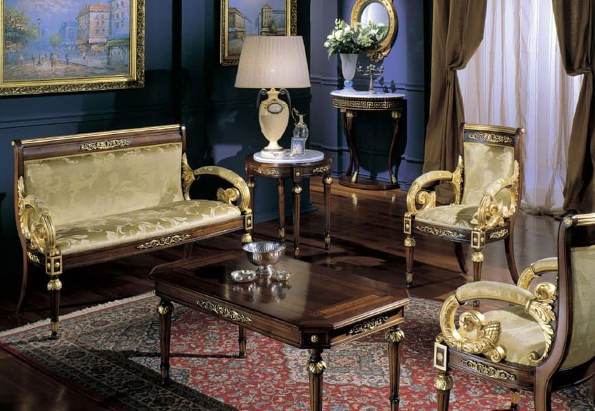 2715 TAVOLINO LUIGI XVI RETTANGOLARE, Tavolino da caffe classico, piano con legno intarsiato