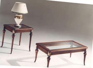 3040 TAVOLINI, Tavolino rettangolare in legno intarsiato, piano in vetro