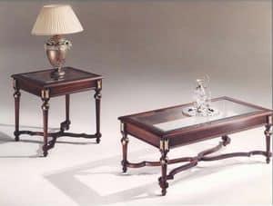 3045 TAVOLINI, Tavolini rettangolari con piano in vetro, stile classico