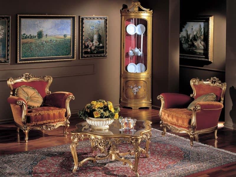 3195 TAVOLINO, Tavolo da caffè in legno, piano in cristallo, classico