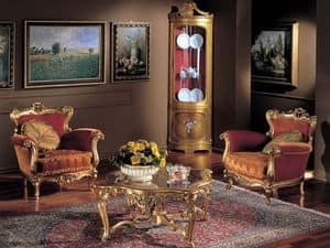 3195 TAVOLINO, Tavolo da caff� in legno, piano in cristallo, classico
