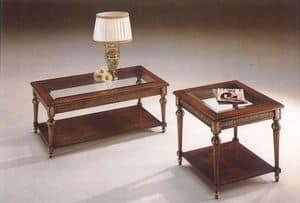 2945 TAVOLINO, Tavolino classico in legno con piano in cristallo