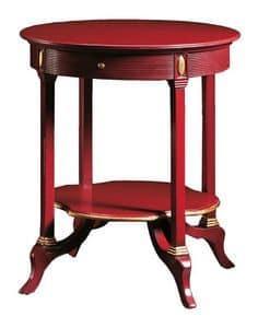 Adamo FA.0136, Tavolino rotondo con 1 cassetto, per ville e alberghi