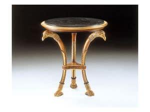 Art. 1412 Altair, Tavolino in legno intagliato, piano in marmo, per suite