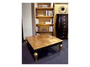 Art. 1797 Gustav, Tavolino classico, in legno, finitura in foglia oro
