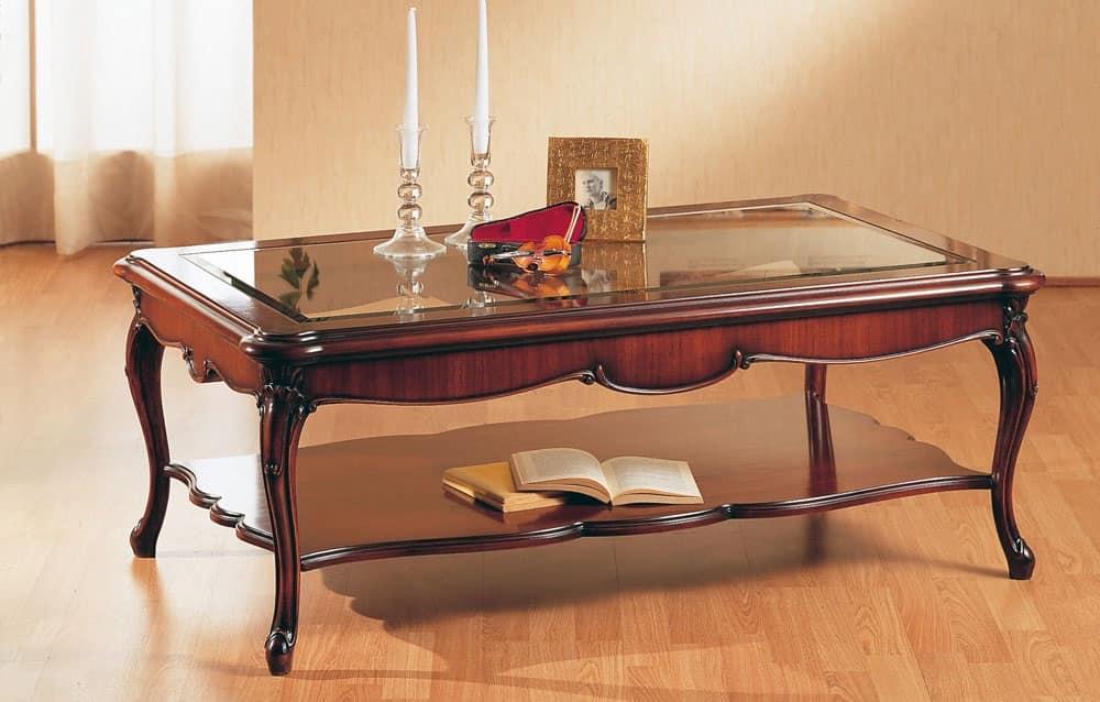 Art. 220/R, Tavolino in legno, per salotti, con piano in vetro