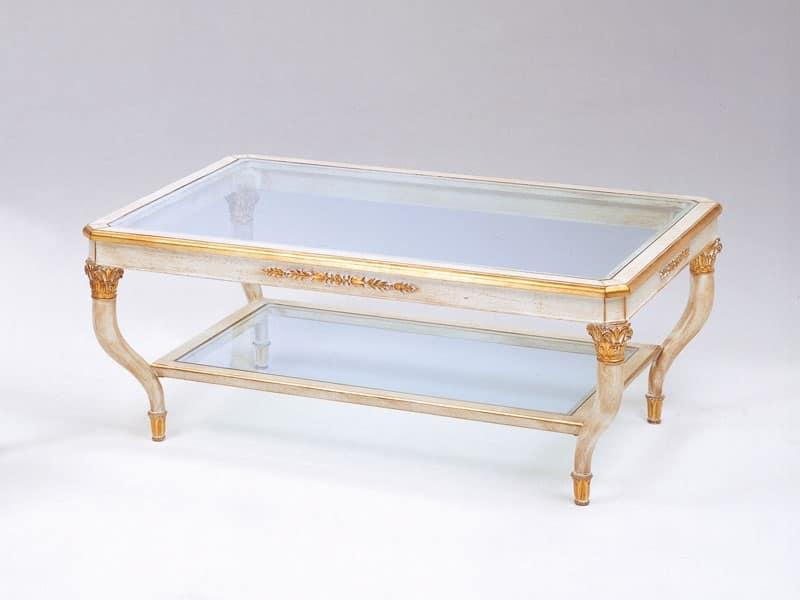 Art. 301 Mida, Tavolino di lusso, intagliati a mano, con 2 piani vetro