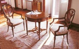 Art. 563/A, Tavolino rotondo in legno intarsiato, per soggiorni classici
