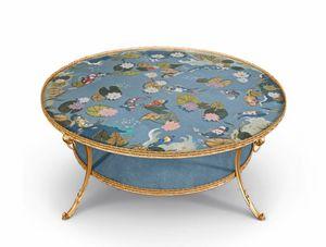 Art. 830, Tavolino intarsiato in radiche colorate e madreperla