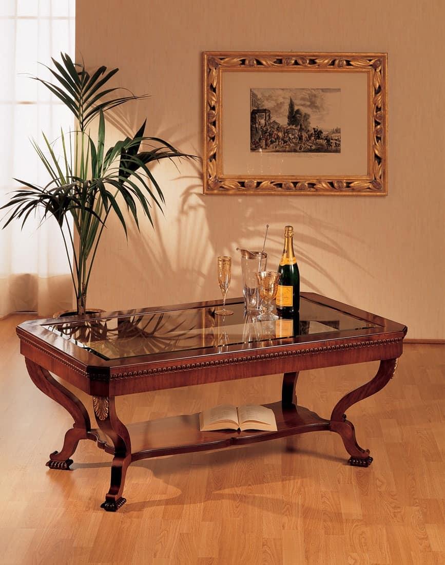 Art. 962/R, Tavolino con piano in vetro, di lusso, intagliato a mano