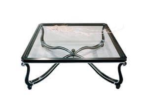 Art. 999, Tavolino con decori preziosi, piano in vetro, per hall