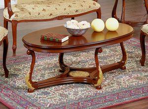 Brianza tavolino ovale piano legno, Tavolino salotto ovale