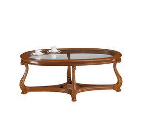 Brianza tavolino ovale piano vetro, Tavolino classico con piano in vetro