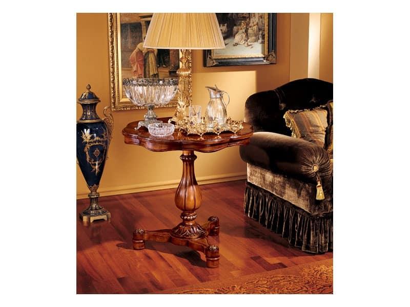 Elena tavolino 752, Tavolino con base in legno intagliato