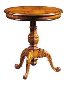 Filiberto FA.0115, Tavolino rotondo in legno lavorato a mano, stile barocco