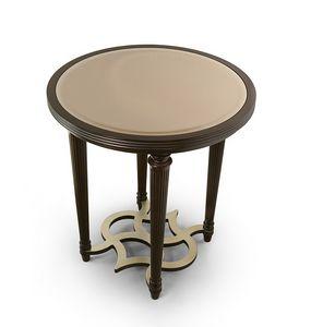 FLORA / tavolino tondo piano specchio bronzato, Elegante tavolino tondo
