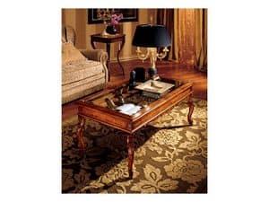 Katerina tavolino 716, Tavolino in legno con piano in vetro, stile classico