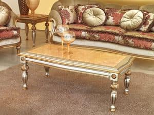 Kos Tavolino, Tavolino classico in legno intagliato, per Hotel di lusso