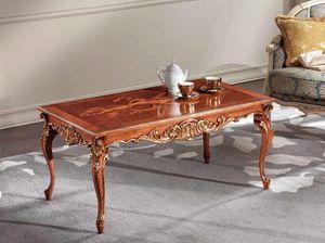 Lawrence tavolino, Tavolino con intagli foglia oro.
