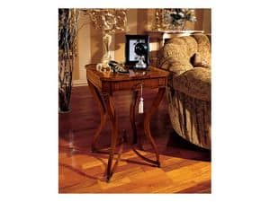 Marika tavolino 739, Tavolino quadrato classico in legno, con gambe curvate