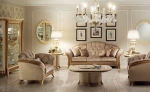 Melodia tavolino, Tavolino per salotto classico, piano ovale, in legno pregiato