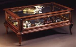 Oxford Art.509 tavolo vetrina, Tavolino classico da centro sala con vetrina, in noce