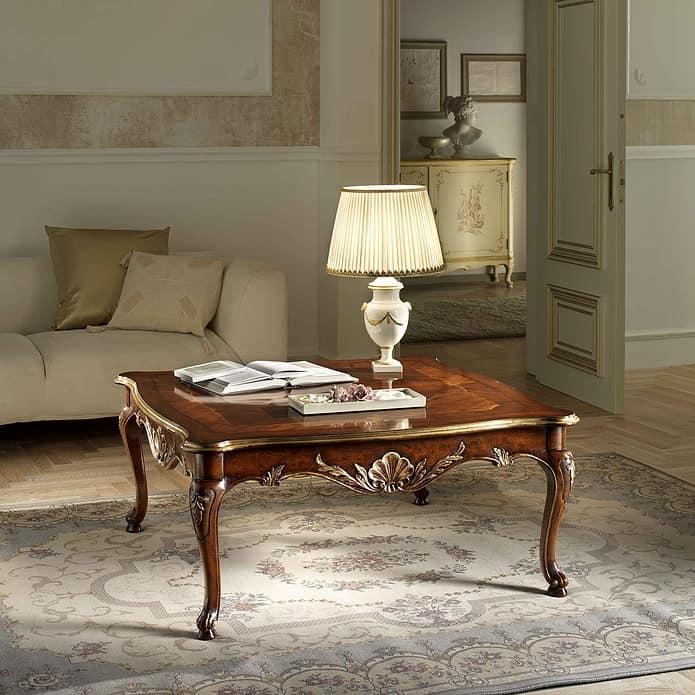 Tavolino Quadrato In Noce Intagliato Dettagli Foglia Oro Idfdesign