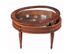 T596 tavolino, Tavolino classico da salotto, con bacheca, in legno intarsiato