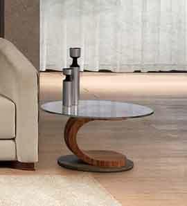 TL58 Mistral tavolino, Tavolino ovale in noce, vetro e acciaio, intarsiato