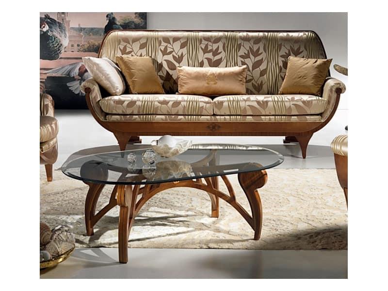 Tavolino basso, piano ovale in cristallo, per salotto  IDFdesign