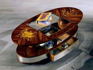 TL26 Arte tavolino, Tavolino classico, piano in cristallo, base con mosaico