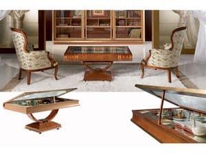 TL30 Libro tavolino, Tavolino a forma di libro, con porta oggetti, in stile