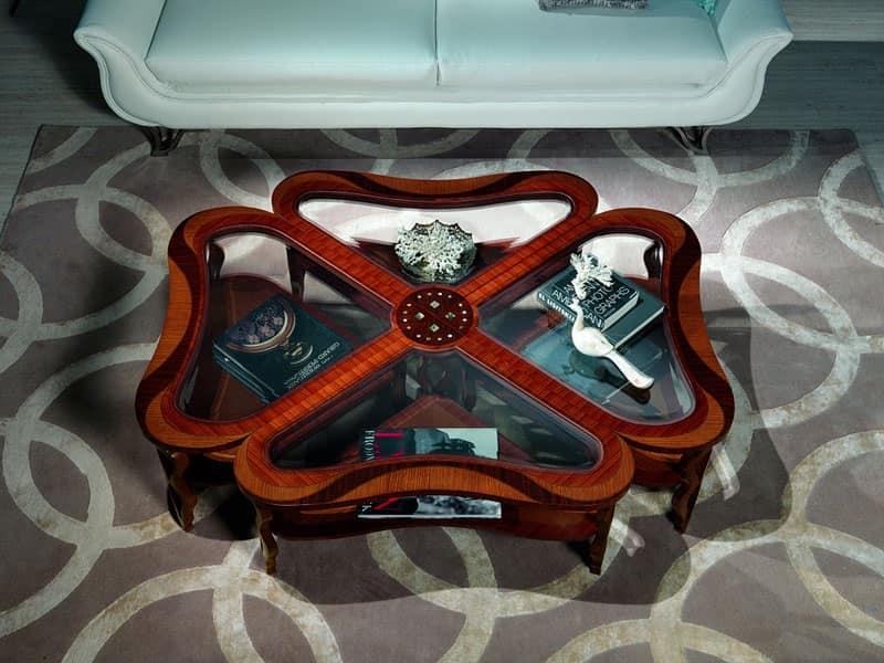 TL38 TL39 Quadrifoglio tavolino, Tavolini legno intarsiato per Ville classiche di lusso
