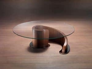 TL41 Minerva tavolino, Tavolino centro sala in legno multistrato, top in cristallo