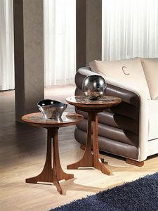 TL50 - TL51 Desyo tavolino, Tavolino con piano rotondo per salotti classici
