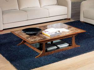 TL52 Desyo tavolino, Tavolino rettangolare per centro sala, piano in marmo