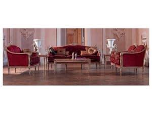 Veronica tavolino, Tavolino elegantemente lavorato, foglia oro, per salotti