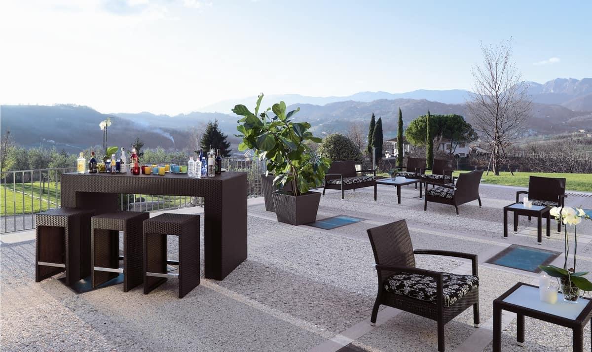 Bancone Bar Da Giardino tavolo alto da bar, intecciato, per giardino e spiaggia
