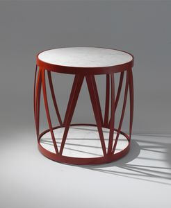 ZIG ZAG GF4023CT-RO, Tavolino tondo, con piano in marmo